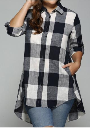 Plaid Pocket Asymmetric Tab-Sleeve Plus Size Shirt