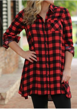 Plaid Button Pocket Shirt Dress