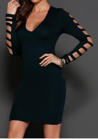 Solid Hollow Out Sleeve Bodycon Dress