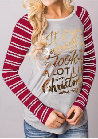 Letter Printed Striped Splicing Blouse