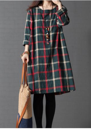 Plaid Button Casual Shift Dress Without Necklace