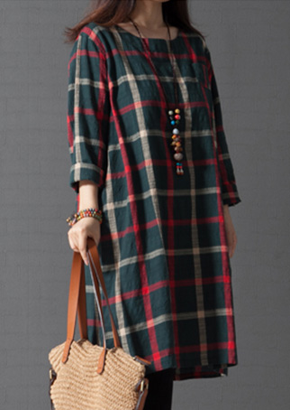 Plaid Button Casual Shift Dress Without Necklace Bellelily