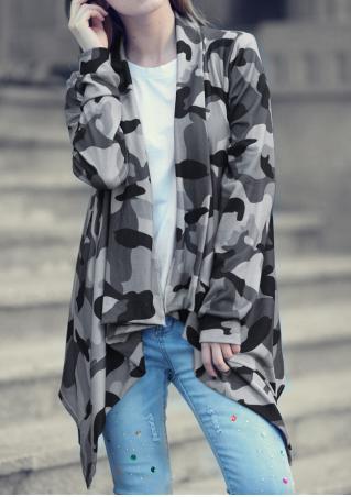 Camouflage Printed Asymmetric Cardigan