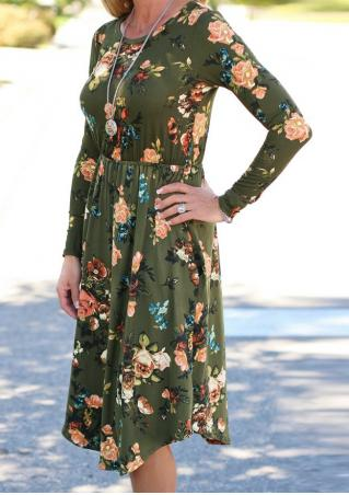 Floral Pocket Long Sleeve Dress Without Necklace