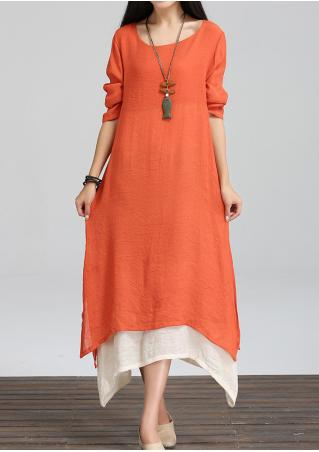 Layered Side Slit Maxi Dress Without Necklace