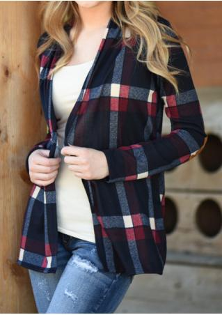 Plaid Elbow Patch Casual Cardigan