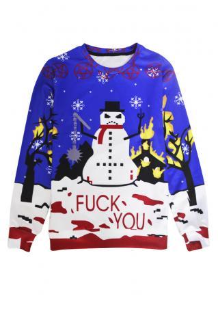 Snowman Printed Casual Sweatshirt