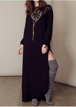 Hollow Out Side Slit Maxi Dress Without Necklace