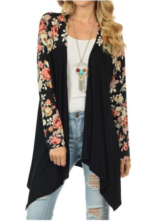 Floral Splicing Asymmetric Cardigan Without Necklace