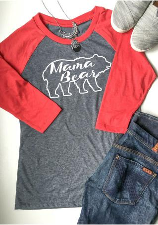 Bear Letter Printed Splicing O-Neck T-Shirt