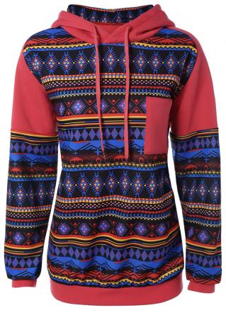 Printed Splicing Pocket Long Sleeve Hoodie