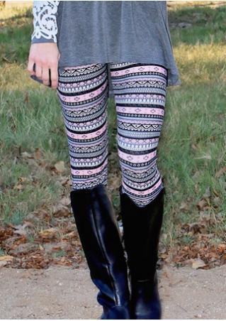 Multicolor Geometric Printed Skinny Stretchy Leggings