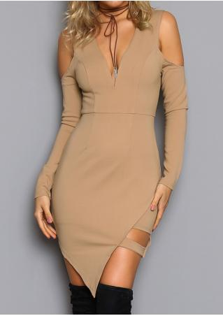 Solid Off Shoulder Bodycon Dress Without Necklace
