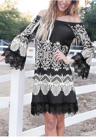 Printed Lace Splicing Mini Dress