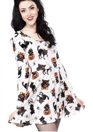 Halloween Pumpkin Cat Printed Mini Dress