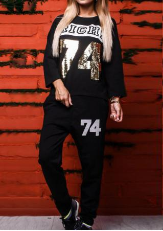 Letter Printed Sequined Sport Sweatshirt and Pants Set