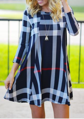 Plaid Mini Dress Without Necklace