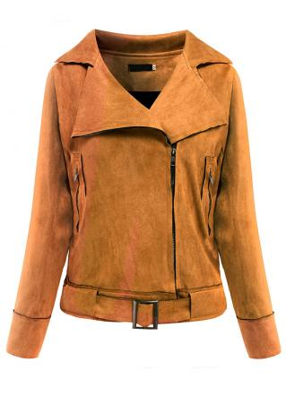 Solid Inclined Zipper Jacket With Belt