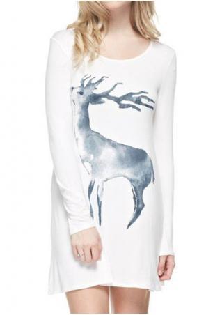 Christmas Reindeer Long Sleeve Mini Dress