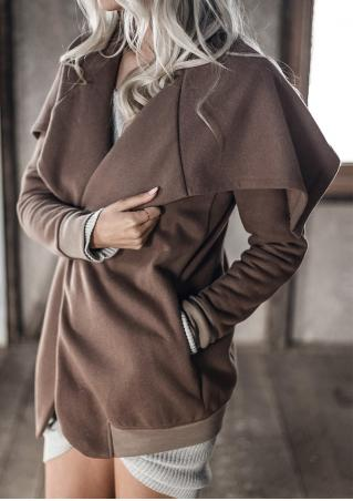Solid Turn-Down Collar Jacket