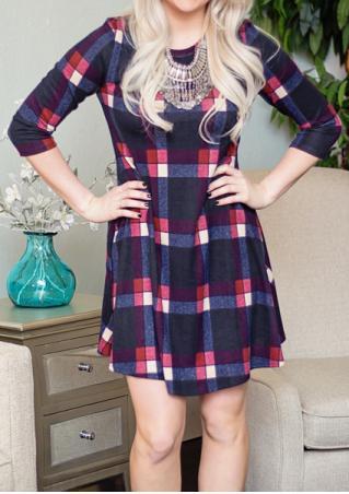 Plaid Three Quarter Sleeve Mini Dress