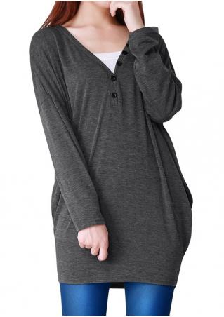 Solid Button Detail Long Sleeve Blouse