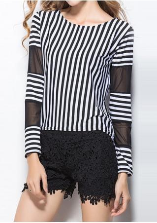 Striped Splicing T-Shirt