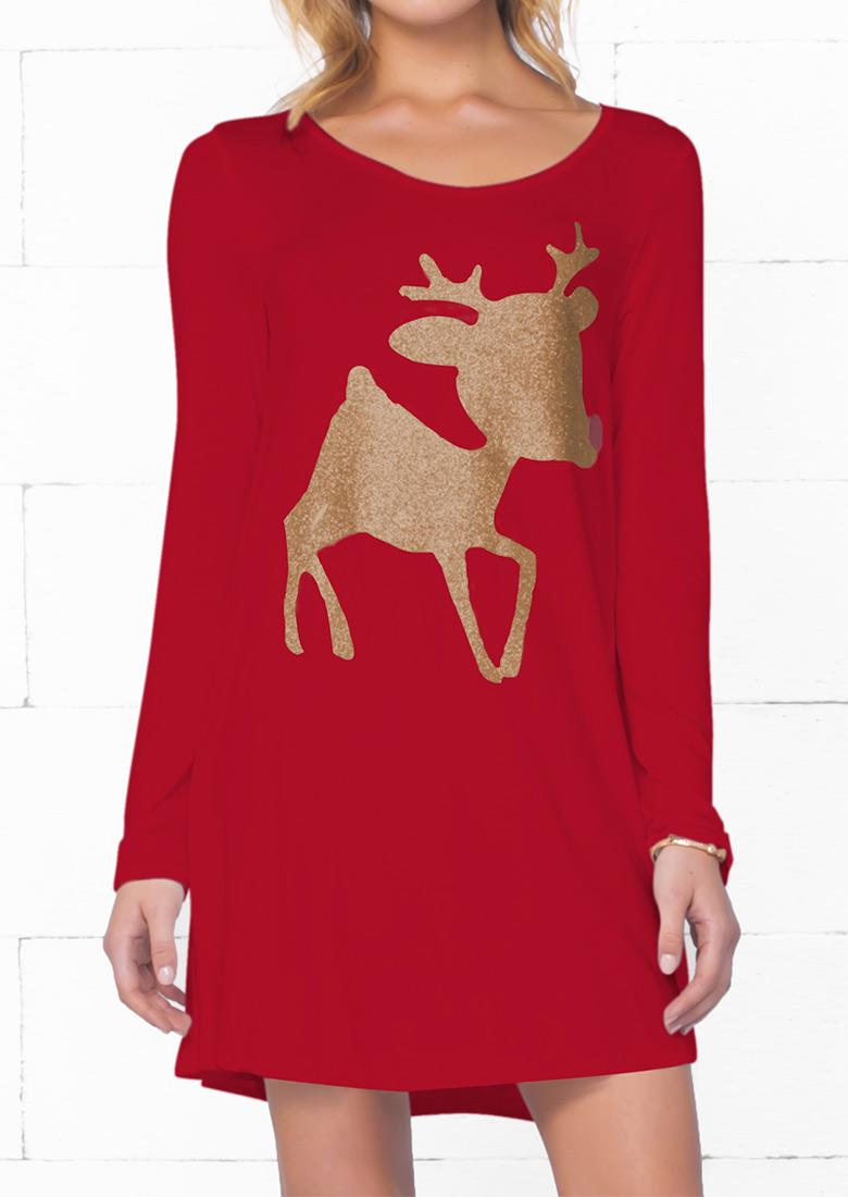 Christmas reindeer printed long sleeve mini dress bellelily