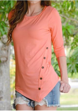 Solid Button Casual Asymmetric Blouse