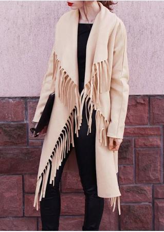 Solid Tassel Splicing Casual Coat