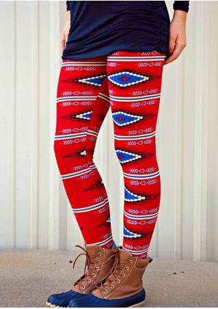 Geometric Printed Stretchy Skinny Leggings
