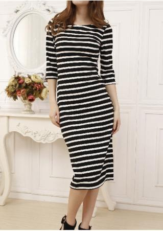 Striped Casual Bodycon Dress
