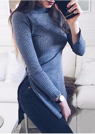 Solid Side Slit Slim Sweater