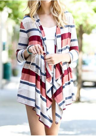 Striped Asymmetric Three Quarter Sleeve Cardigan