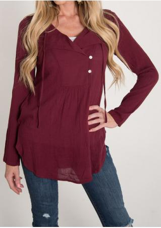 Solid Button Long Sleeve Blouse