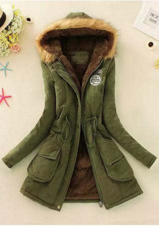 Embroidery Zipper Hooded Parka Jacket