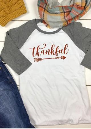 THANKFUL Arrow Printed O-Neck T-Shirt