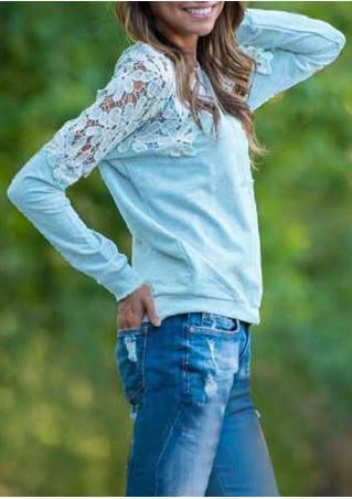 Solid Lace Splicing Sweatshirt