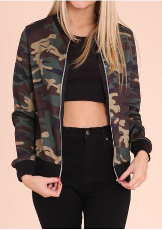 Camouflage Printed Zipper Casual Jacket