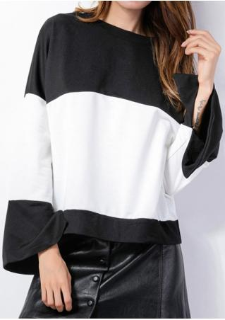 Color Block Flare Sleeve Loose Blouse