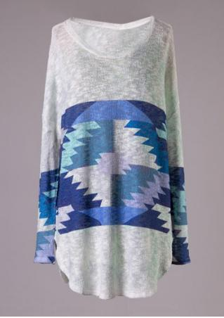 Geometric Printed Long Sleeve Sweater