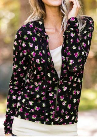 Floral Zipper Hooded Long Sleeve Jacket