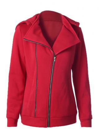 Solid Front Zipper Pocket Hooded Coat
