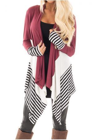 Color Block Striped Splicing Asymmetric Cardigan