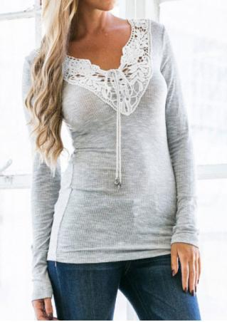 Lace Splicing Long Sleeve Blouse