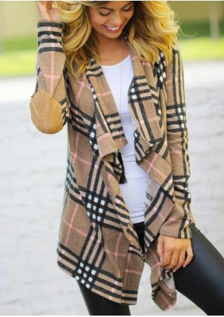Plaid Asymmetric Elbow Patch Fashion Cardigan