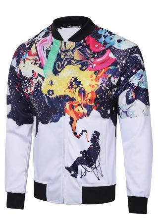 Multicolor Printed Front Pocket Zipper Jacket