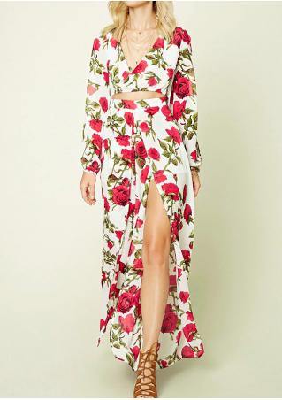 Floral Side Slit Hollow Out Maxi Dress Without Necklace