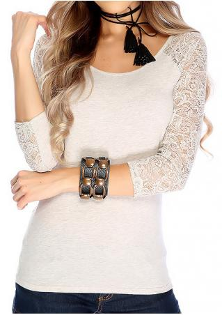 Lace Splicing Slim T-Shirt Without Necklace
