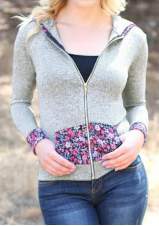 Floral Splicing Pocket Zipper Hoodie
